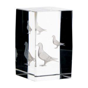 Statuetka szklana kostka KR5080/PON z gołębiami 3D
