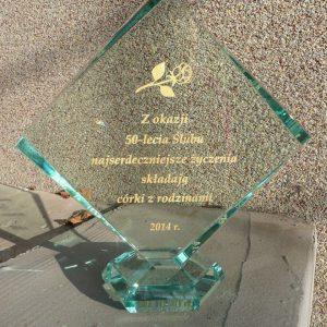 Trofeum / statuetka szklana z życzeniami