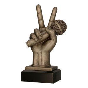 Brązowa statuetka odlewana RFST3014/BR - Mikrofon, muzyka
