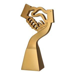 Złota statuetka odlewana RP5014 - Gratulacje, uścisk dłoni, powitanie